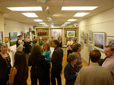 Gallery visitors and artists