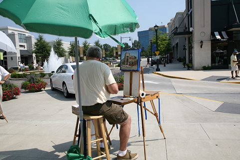 Doug painting at North Hills in the 'Quick Painting' competition on 8/9/09.